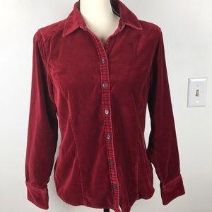 Eddie Bauer Western Velvet Wine Button Up Shirt